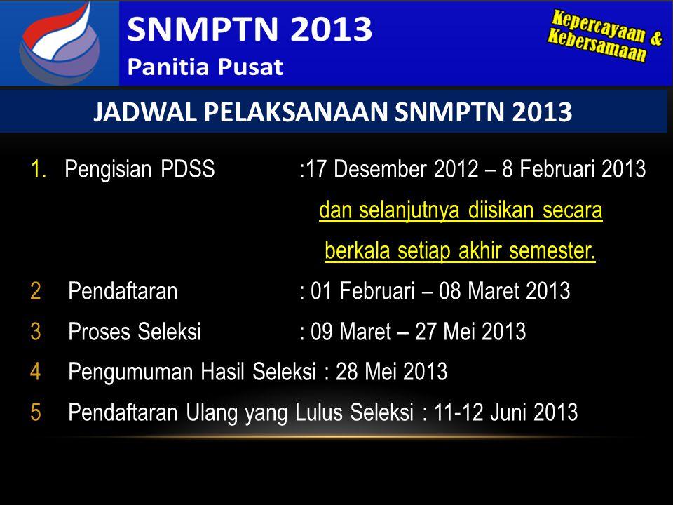 JADWAL PELAKSANAAN SNMPTN 2013