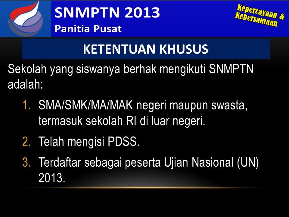 KETENTUAN KHUSUS Sekolah yang siswanya berhak mengikuti SNMPTN adalah: