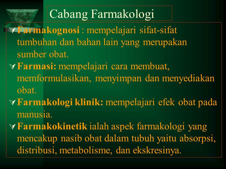 Cabang Farmakologi Farmakognosi : mempelajari sifat-sifat tumbuhan dan bahan lain yang merupakan sumber obat.