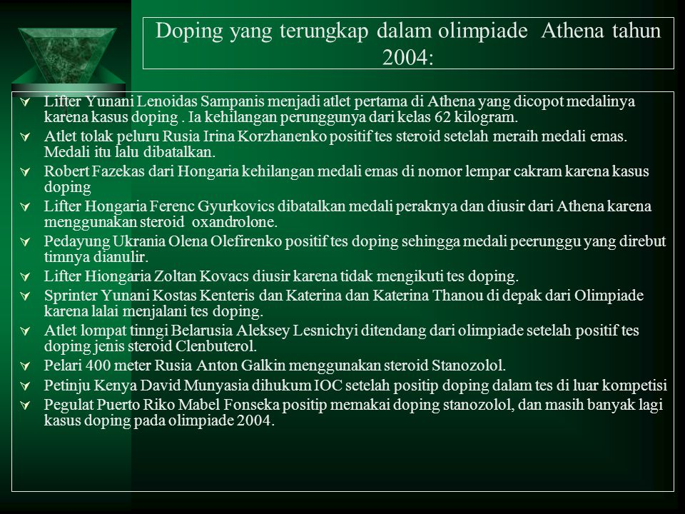 Doping yang terungkap dalam olimpiade Athena tahun 2004: