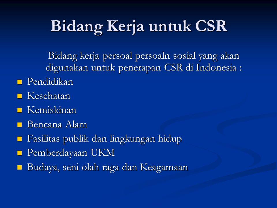 Bidang Kerja untuk CSR Bidang kerja persoal persoaln sosial yang akan digunakan untuk penerapan CSR di Indonesia :