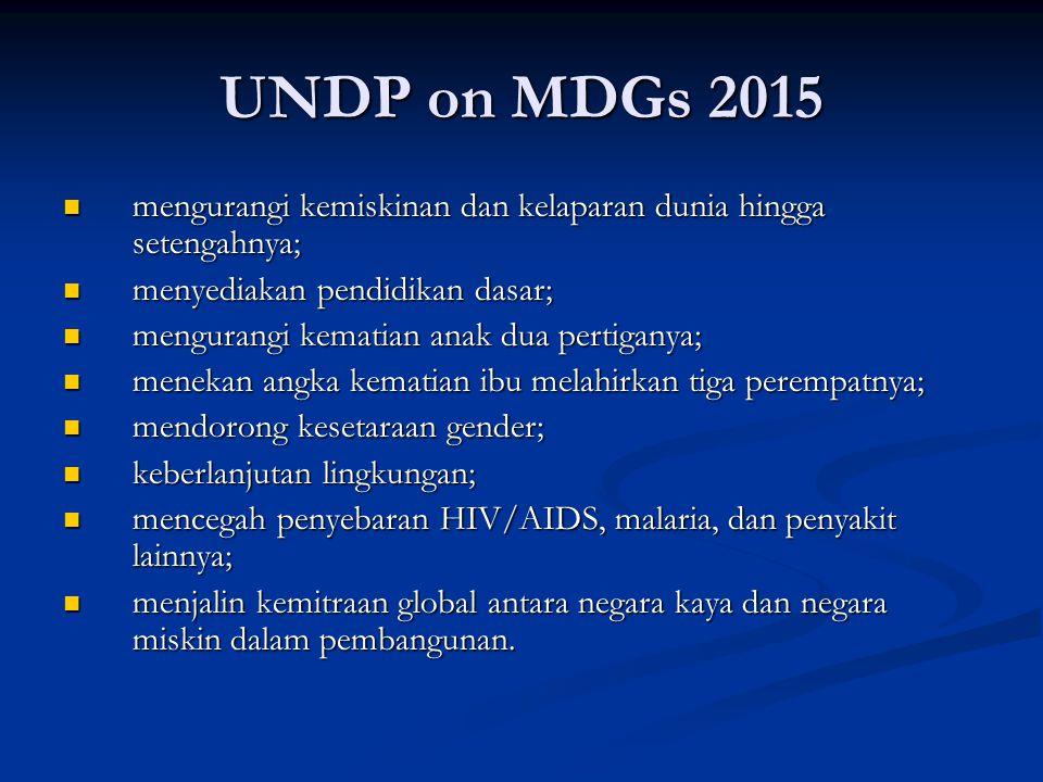 UNDP on MDGs 2015 mengurangi kemiskinan dan kelaparan dunia hingga setengahnya; menyediakan pendidikan dasar;