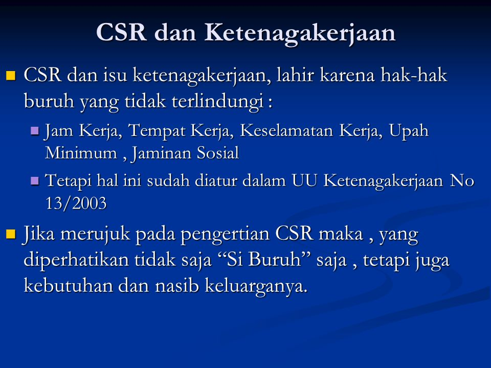 CSR dan Ketenagakerjaan