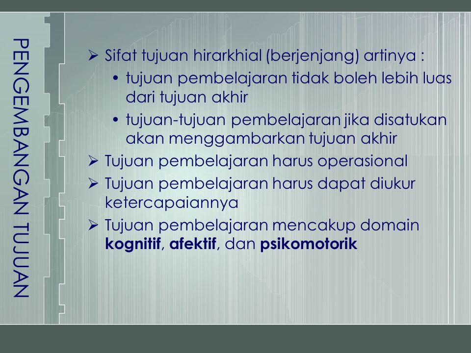 PENGEMBANGAN TUJUAN Sifat tujuan hirarkhial (berjenjang) artinya :