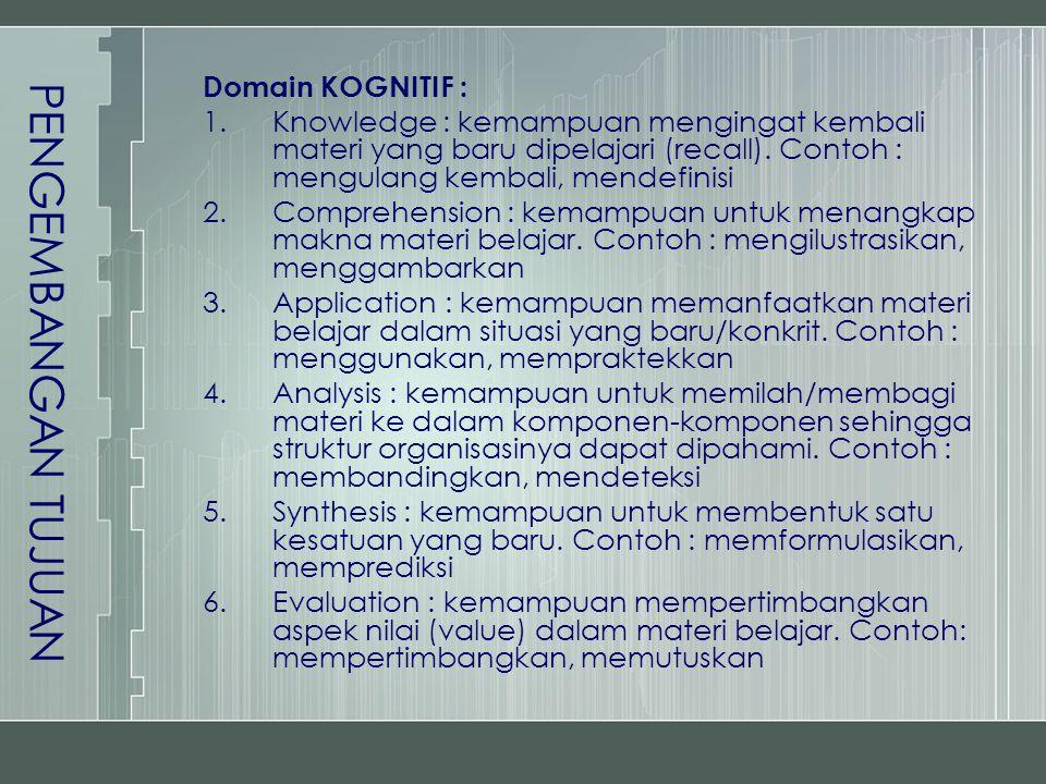 PENGEMBANGAN TUJUAN Domain KOGNITIF :