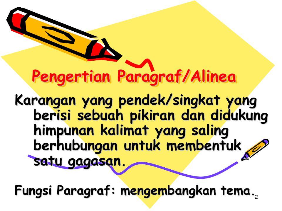 Pengertian Paragraf/Alinea