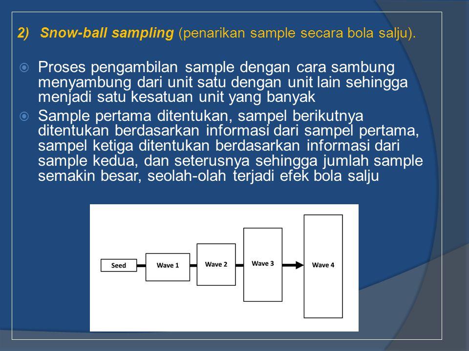 2) Snow-ball sampling (penarikan sample secara bola salju).