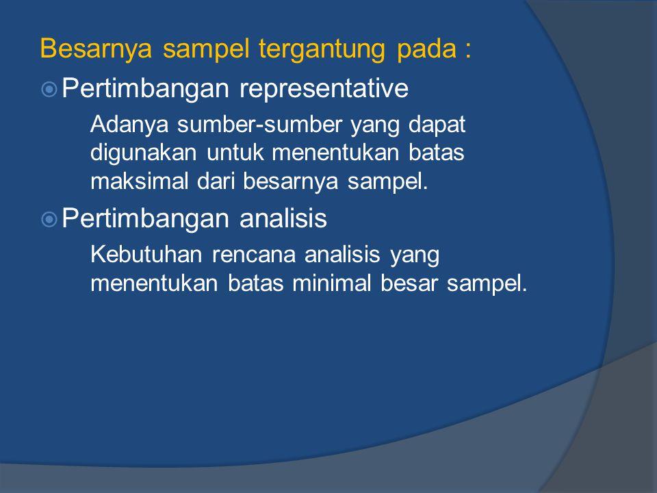 Besarnya sampel tergantung pada : Pertimbangan representative