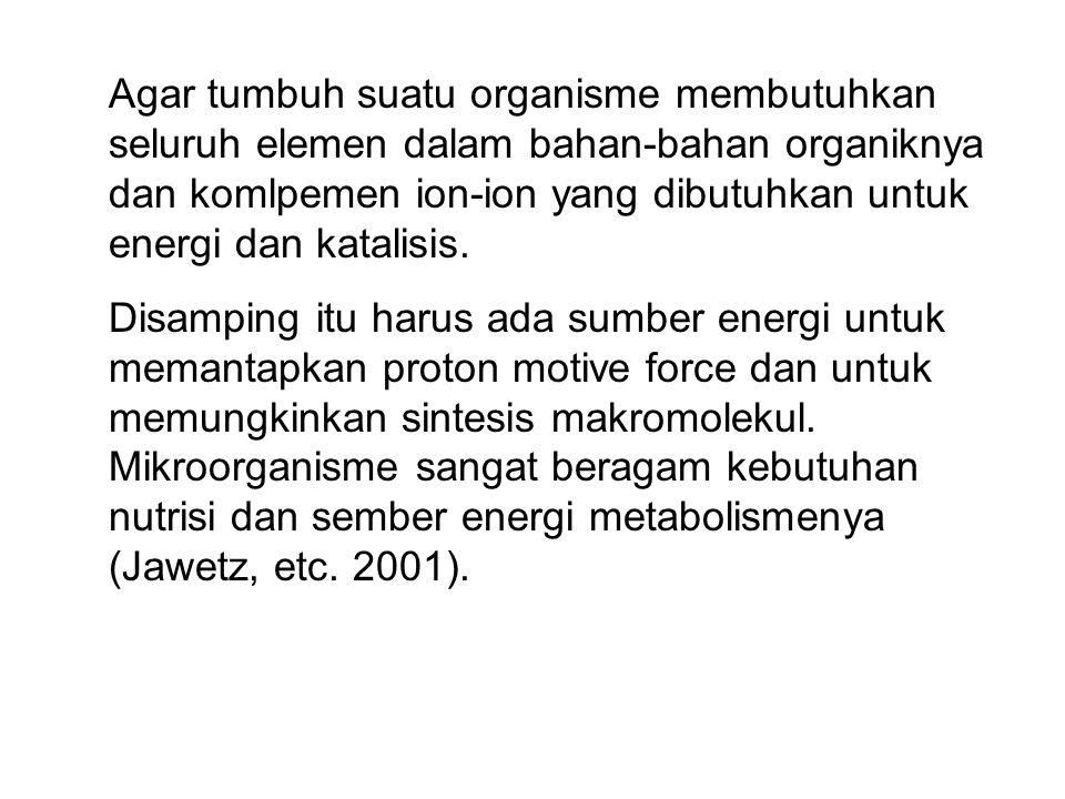 Agar tumbuh suatu organisme membutuhkan seluruh elemen dalam bahan-bahan organiknya dan komlpemen ion-ion yang dibutuhkan untuk energi dan katalisis.