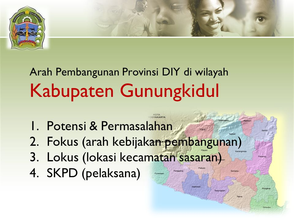Arah Pembangunan Provinsi DIY di wilayah Kabupaten Gunungkidul