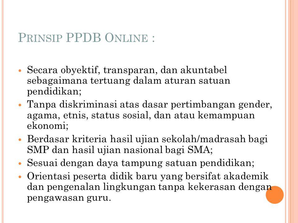 Prinsip PPDB Online : Secara obyektif, transparan, dan akuntabel sebagaimana tertuang dalam aturan satuan pendidikan;