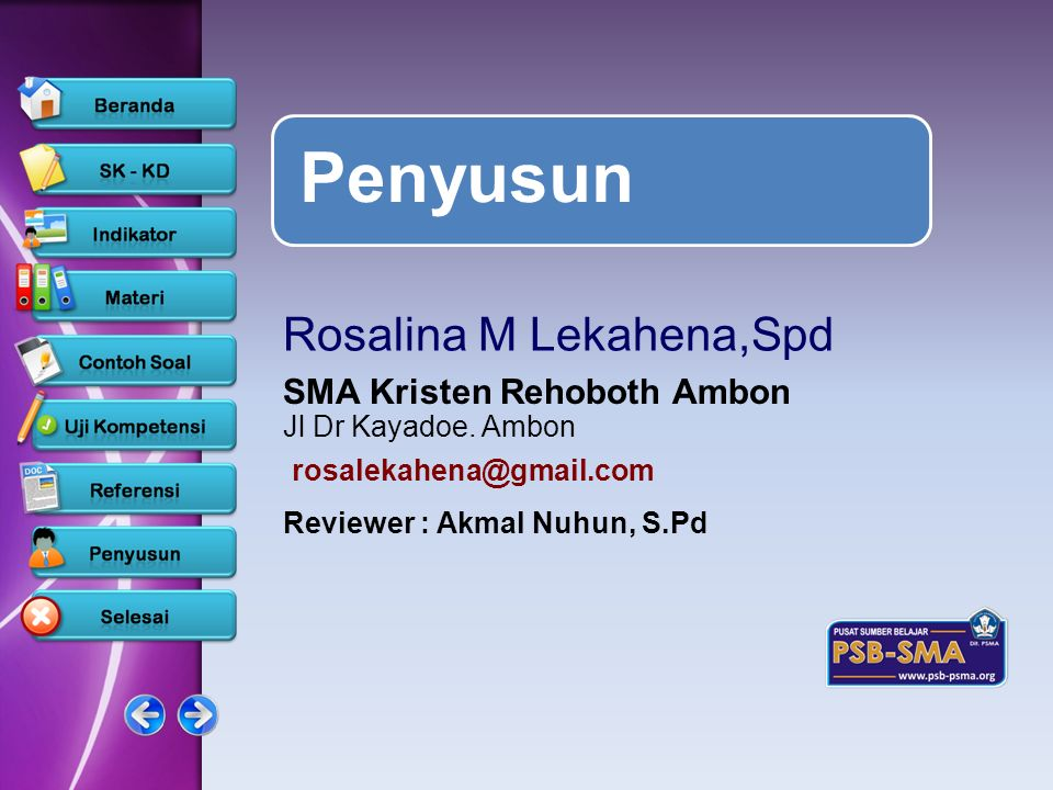 Penyusun Rosalina M Lekahena,Spd SMA Kristen Rehoboth Ambon
