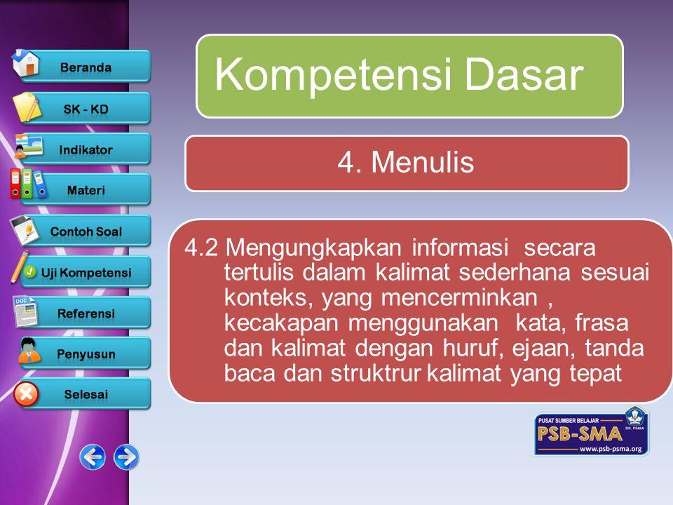 Kompetensi Dasar 4. Menulis