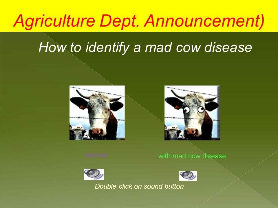 Agriculture Dept. Announcement)