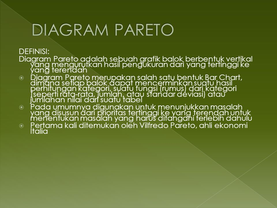DIAGRAM PARETO DEFINISI: