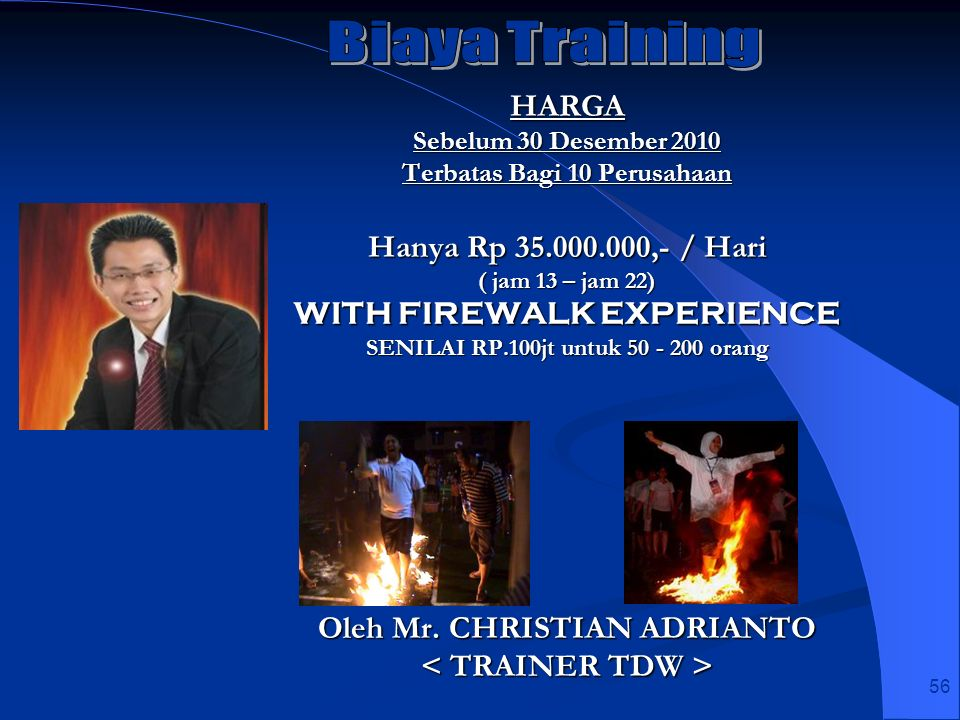 Biaya Training HARGA Hanya Rp 35.000.000,- / Hari