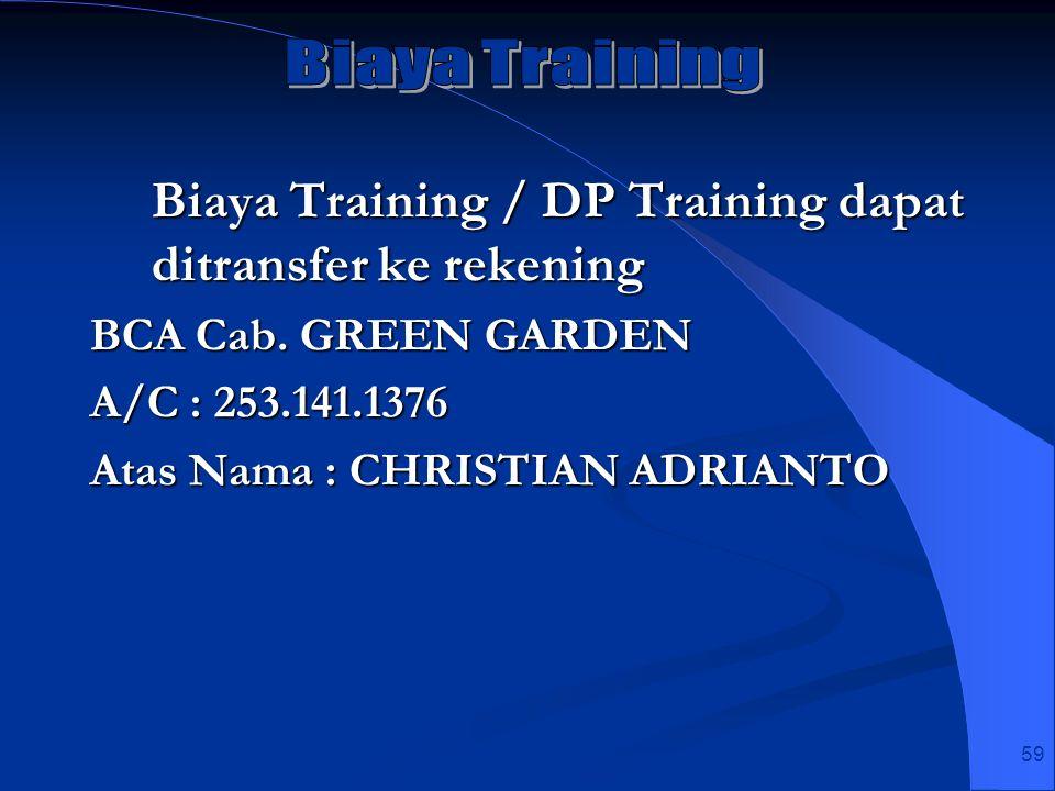 Biaya Training / DP Training dapat ditransfer ke rekening