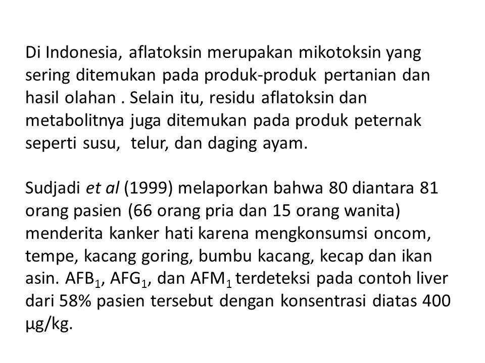 Di Indonesia, aflatoksin merupakan mikotoksin yang sering ditemukan pada produk-produk pertanian dan hasil olahan .