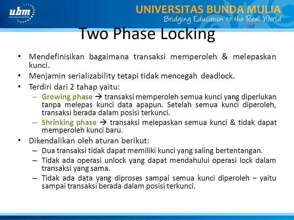 Two Phase Locking Mendefinisikan bagaimana transaksi memperoleh & melepaskan kunci. Menjamin serializability tetapi tidak mencegah deadlock.