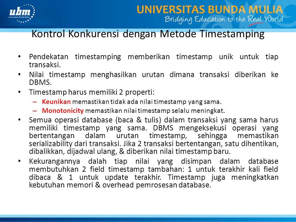 Kontrol Konkurensi dengan Metode Timestamping