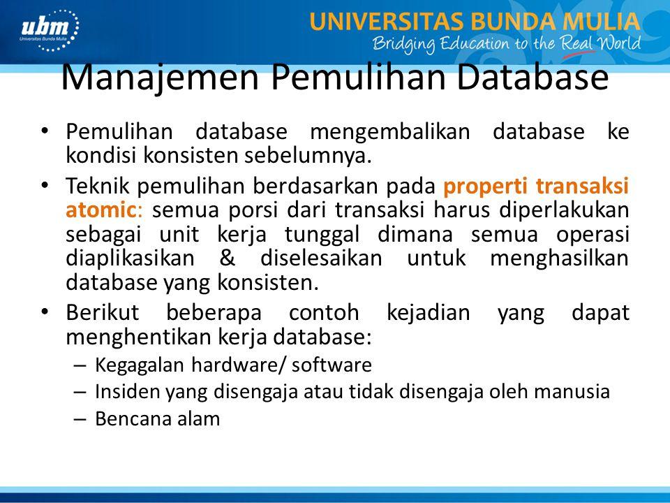 Manajemen Pemulihan Database