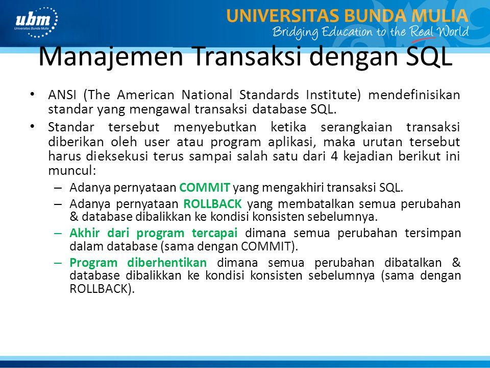 Manajemen Transaksi dengan SQL