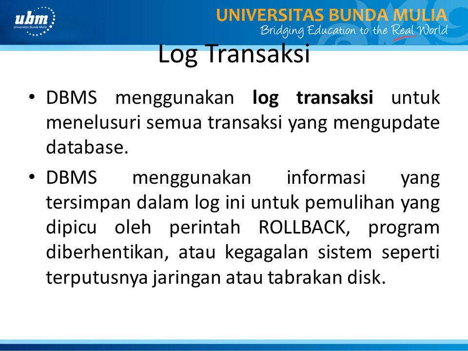 Log Transaksi DBMS menggunakan log transaksi untuk menelusuri semua transaksi yang mengupdate database.