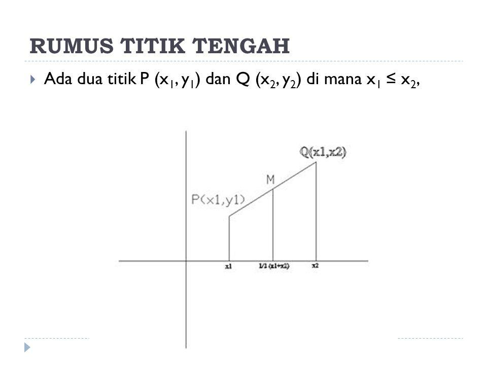 RUMUS TITIK TENGAH Ada dua titik P (x1, y1) dan Q (x2, y2) di mana x1 ≤ x2,