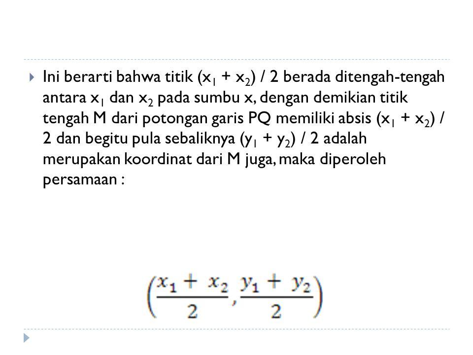 Ini berarti bahwa titik (x1 + x2) / 2 berada ditengah-tengah antara x1 dan x2 pada sumbu x, dengan demikian titik tengah M dari potongan garis PQ memiliki absis (x1 + x2) / 2 dan begitu pula sebaliknya (y1 + y2) / 2 adalah merupakan koordinat dari M juga, maka diperoleh persamaan :