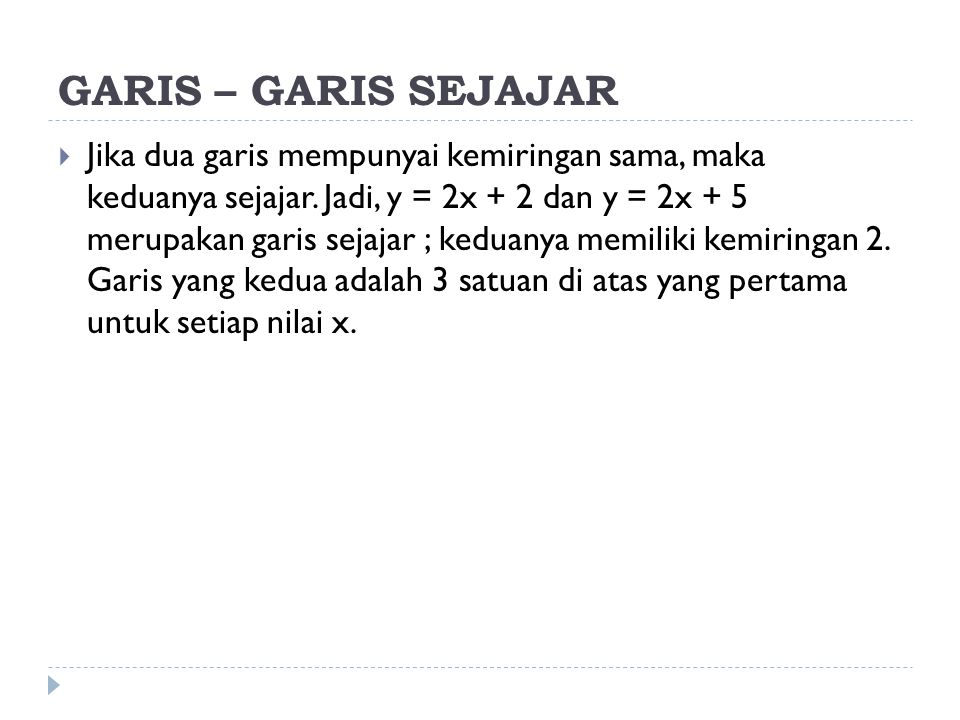 GARIS – GARIS SEJAJAR