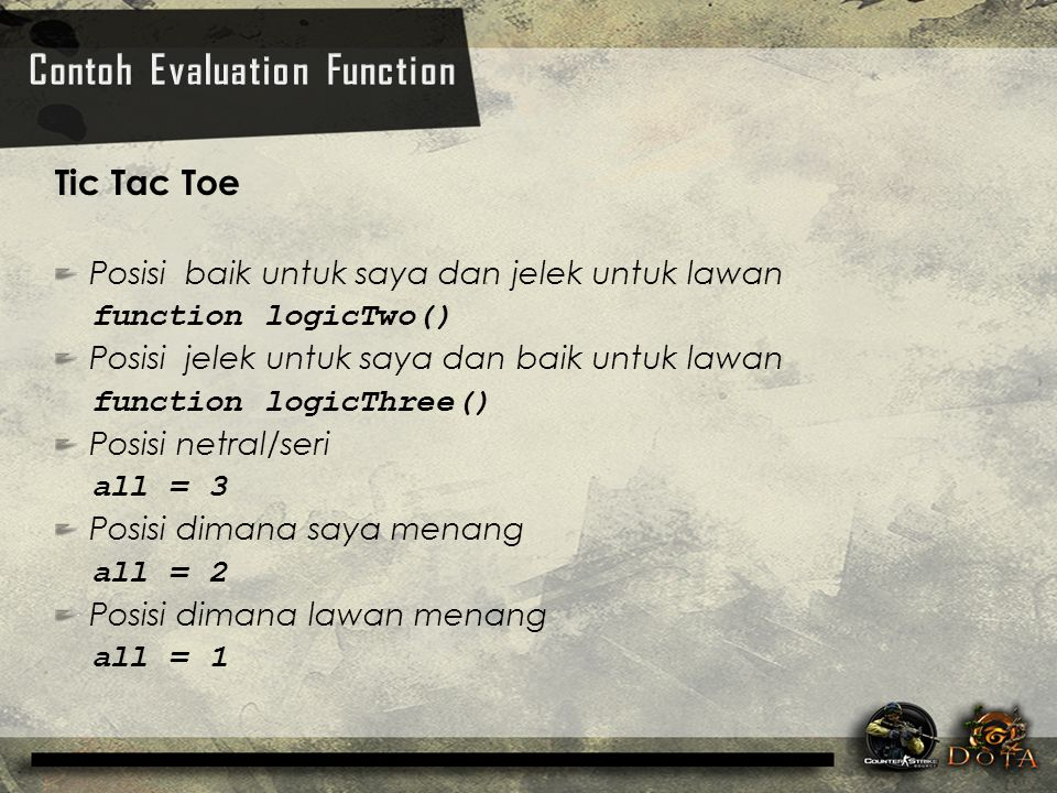 Contoh Evaluation Function