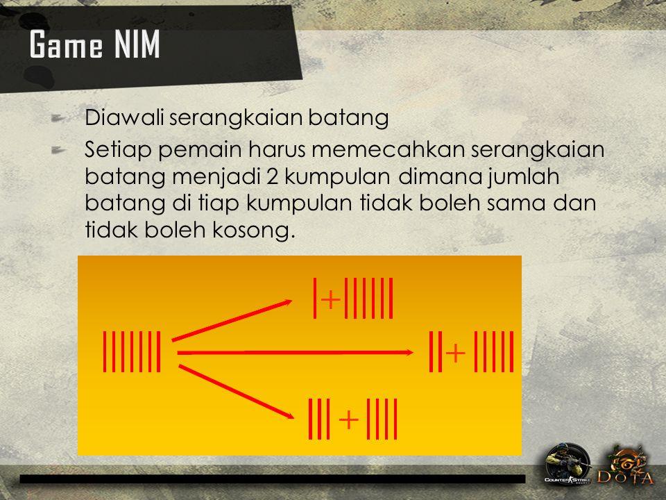 Game NIM Diawali serangkaian batang