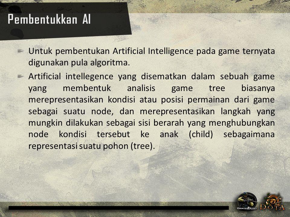 Pembentukkan AI Untuk pembentukan Artificial Intelligence pada game ternyata digunakan pula algoritma.