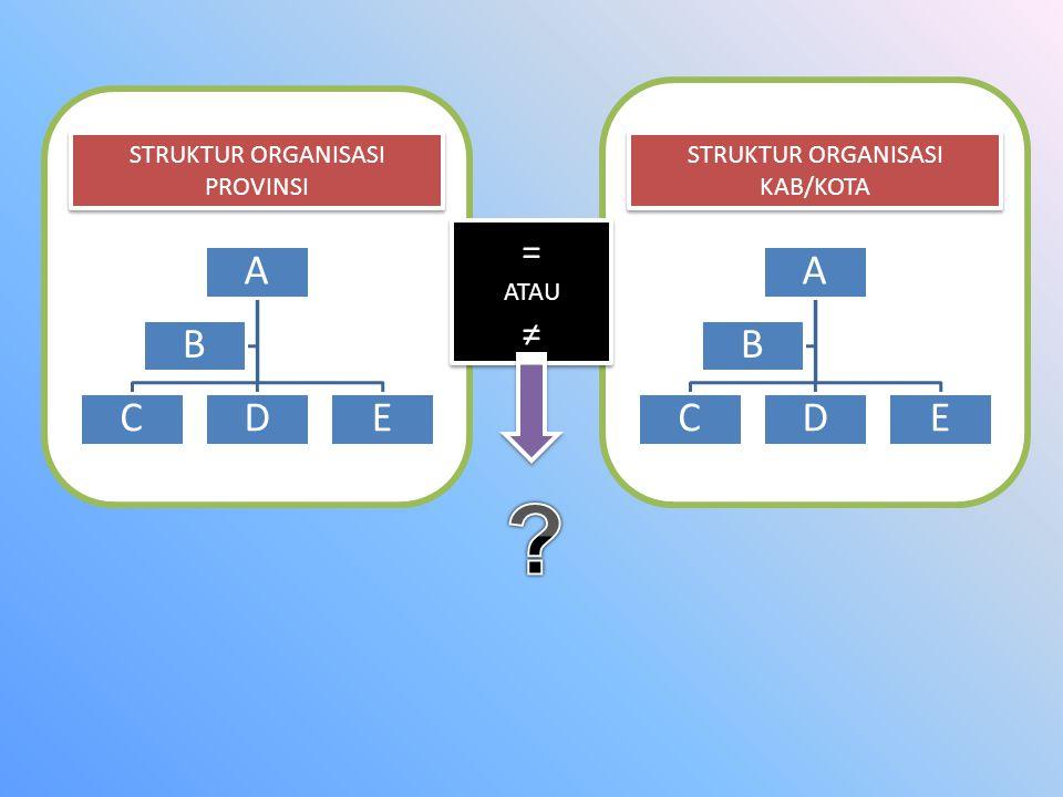 = ≠ STRUKTUR ORGANISASI PROVINSI STRUKTUR ORGANISASI KAB/KOTA ATAU A