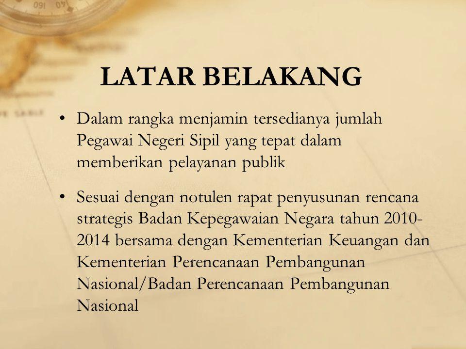 LATAR BELAKANG Dalam rangka menjamin tersedianya jumlah Pegawai Negeri Sipil yang tepat dalam memberikan pelayanan publik.
