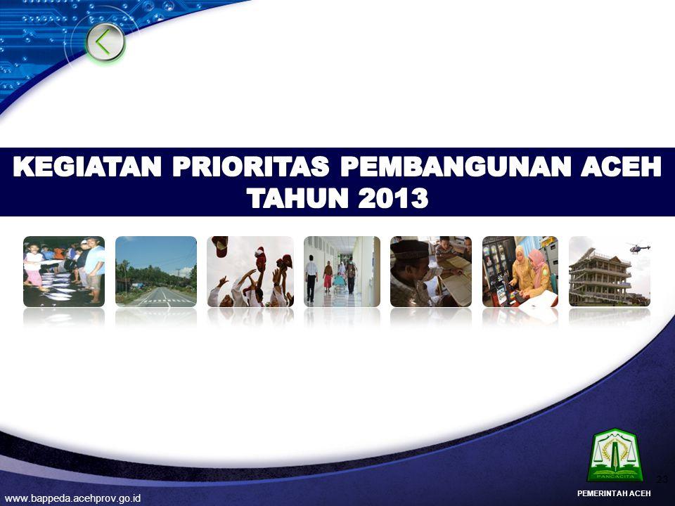 KEGIATAN PRIORITAS PEMBANGUNAN ACEH TAHUN 2013