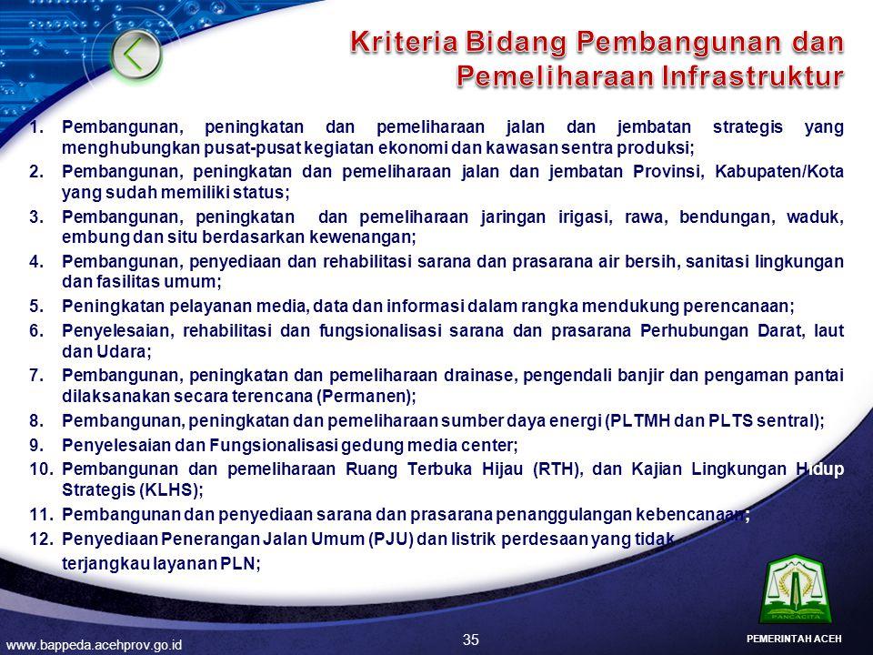 Kriteria Bidang Pembangunan dan Pemeliharaan Infrastruktur