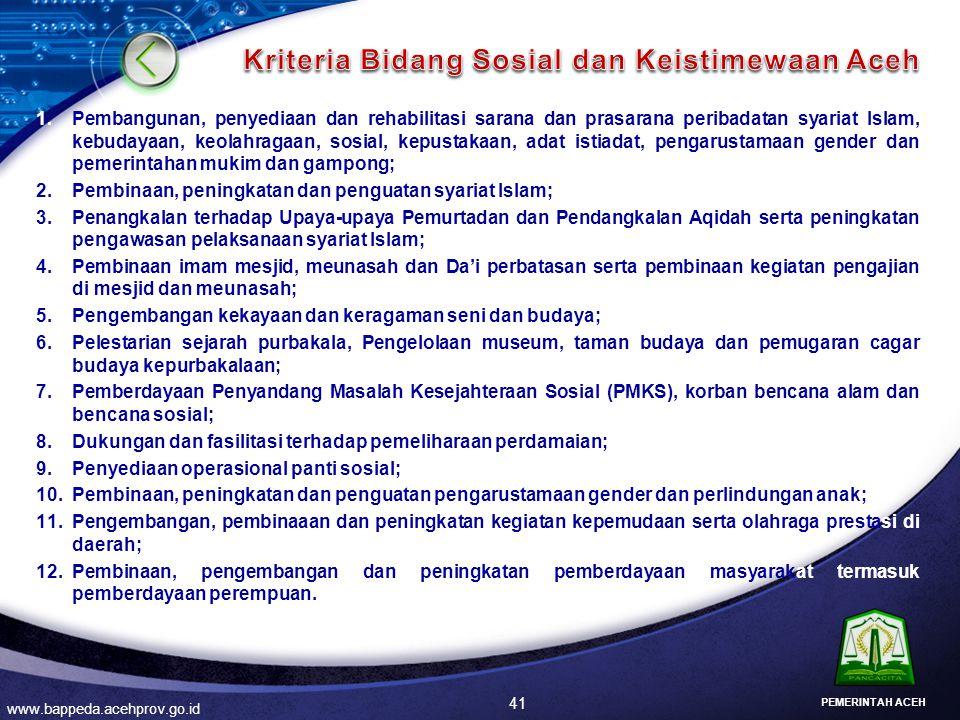 Kriteria Bidang Sosial dan Keistimewaan Aceh