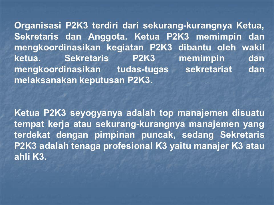 Organisasi P2K3 terdiri dari sekurang-kurangnya Ketua, Sekretaris dan Anggota. Ketua P2K3 memimpin dan mengkoordinasikan kegiatan P2K3 dibantu oleh wakil ketua. Sekretaris P2K3 memimpin dan mengkoordinasikan tudas-tugas sekretariat dan melaksanakan keputusan P2K3.