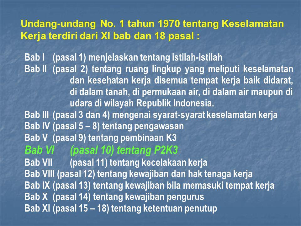 Bab VI (pasal 10) tentang P2K3