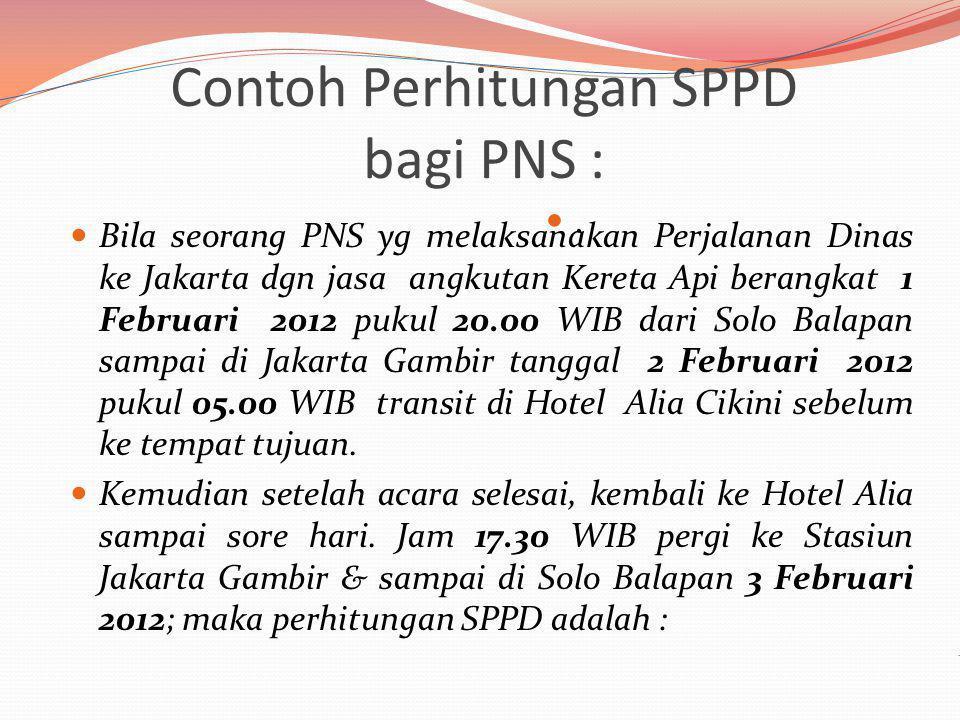 Contoh Perhitungan SPPD bagi PNS :