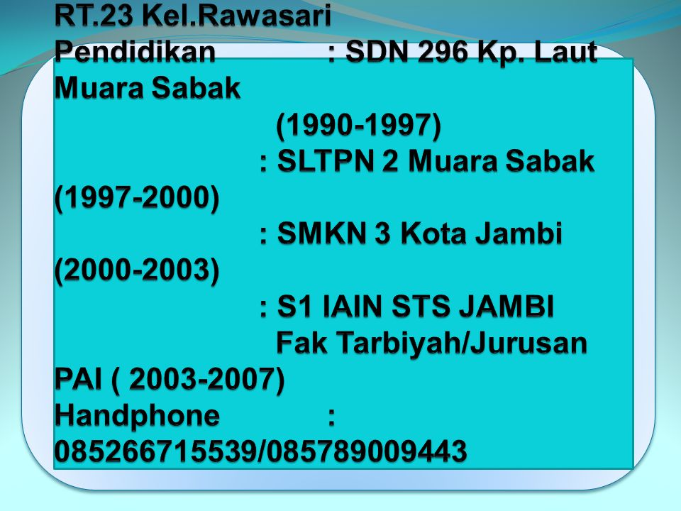 Background Pendidikan Nama lengkap. : SYARIFUDDIN. K, S. Pd. I Temp