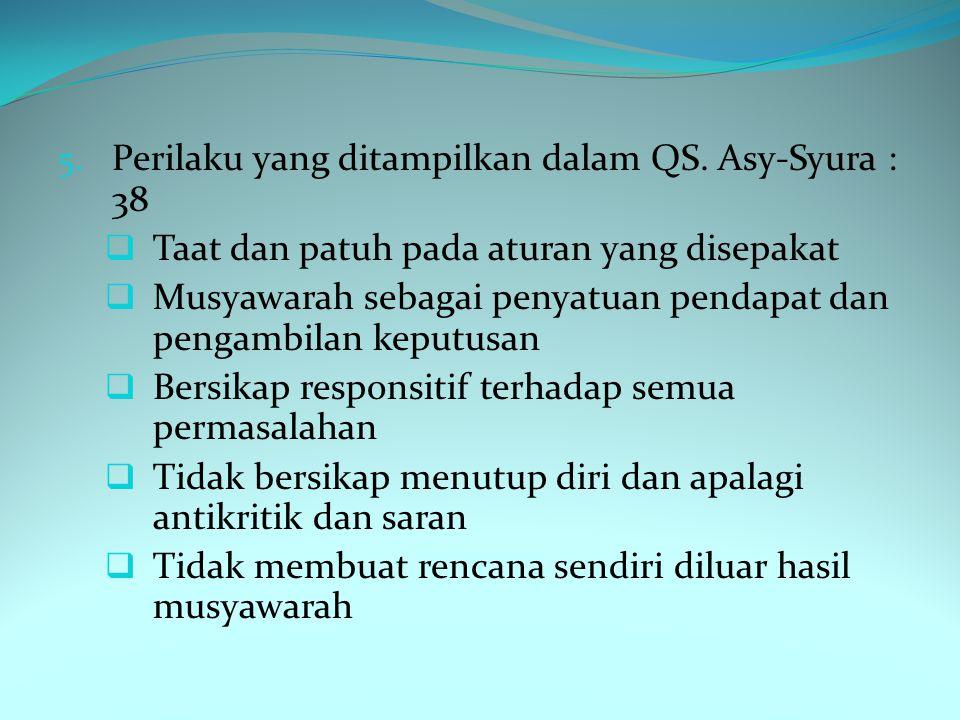 Perilaku yang ditampilkan dalam QS. Asy-Syura : 38