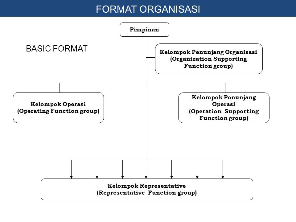 FORMAT ORGANISASI BASIC FORMAT Pimpinan Kelompok Penunjang Organisasi