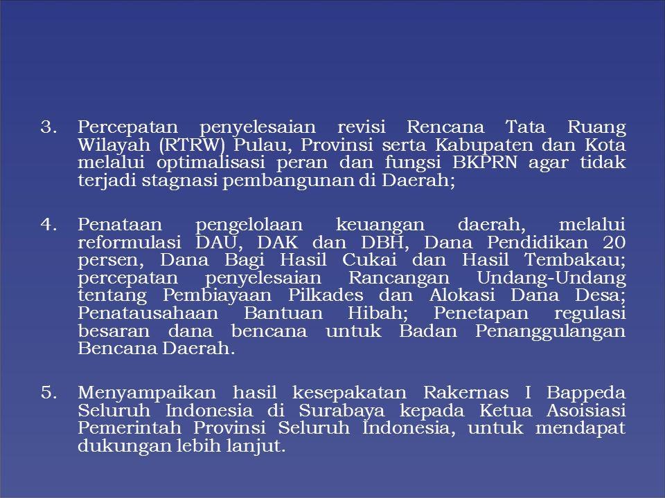 Percepatan penyelesaian revisi Rencana Tata Ruang Wilayah (RTRW) Pulau, Provinsi serta Kabupaten dan Kota melalui optimalisasi peran dan fungsi BKPRN agar tidak terjadi stagnasi pembangunan di Daerah;