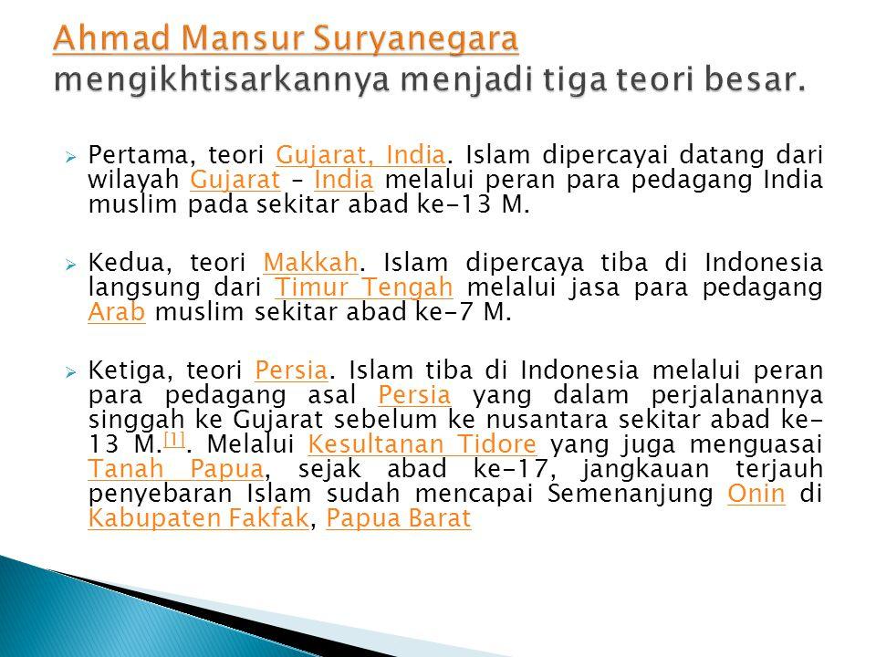 Ahmad Mansur Suryanegara mengikhtisarkannya menjadi tiga teori besar.