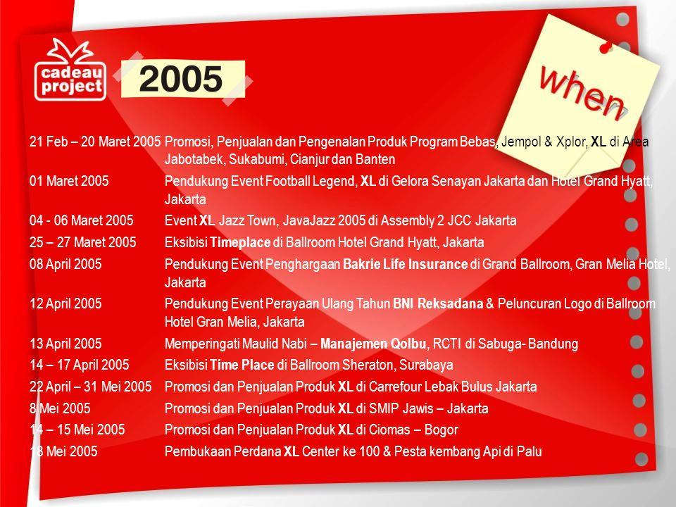 21 Feb – 20 Maret 2005 Promosi, Penjualan dan Pengenalan Produk Program Bebas, Jempol & Xplor, XL di Area Jabotabek, Sukabumi, Cianjur dan Banten 01 Maret 2005 Pendukung Event Football Legend, XL di Gelora Senayan Jakarta dan Hotel Grand Hyatt, Jakarta 04 - 06 Maret 2005 Event XL Jazz Town, JavaJazz 2005 di Assembly 2 JCC Jakarta 25 – 27 Maret 2005 Eksibisi Timeplace di Ballroom Hotel Grand Hyatt, Jakarta 08 April 2005 Pendukung Event Penghargaan Bakrie Life Insurance di Grand Ballroom, Gran Melia Hotel, Jakarta 12 April 2005 Pendukung Event Perayaan Ulang Tahun BNI Reksadana & Peluncuran Logo di Ballroom Hotel Gran Melia, Jakarta 13 April 2005 Memperingati Maulid Nabi – Manajemen Qolbu, RCTI di Sabuga- Bandung 14 – 17 April 2005 Eksibisi Time Place di Ballroom Sheraton, Surabaya 22 April – 31 Mei 2005 Promosi dan Penjualan Produk XL di Carrefour Lebak Bulus Jakarta 8 Mei 2005 Promosi dan Penjualan Produk XL di SMIP Jawis – Jakarta 14 – 15 Mei 2005 Promosi dan Penjualan Produk XL di Ciomas – Bogor 18 Mei 2005 Pembukaan Perdana XL Center ke 100 & Pesta kembang Api di Palu