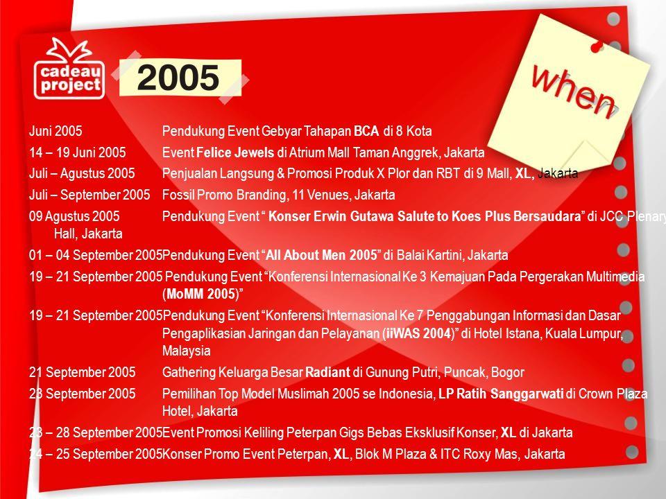 Juni 2005 Pendukung Event Gebyar Tahapan BCA di 8 Kota 14 – 19 Juni 2005 Event Felice Jewels di Atrium Mall Taman Anggrek, Jakarta Juli – Agustus 2005 Penjualan Langsung & Promosi Produk X Plor dan RBT di 9 Mall, XL, Jakarta Juli – September 2005 Fossil Promo Branding, 11 Venues, Jakarta 09 Agustus 2005 Pendukung Event Konser Erwin Gutawa Salute to Koes Plus Bersaudara di JCC Plenary Hall, Jakarta 01 – 04 September 2005 Pendukung Event All About Men 2005 di Balai Kartini, Jakarta 19 – 21 September 2005 Pendukung Event Konferensi Internasional Ke 3 Kemajuan Pada Pergerakan Multimedia (MoMM 2005) 19 – 21 September 2005Pendukung Event Konferensi Internasional Ke 7 Penggabungan Informasi dan Dasar Pengaplikasian Jaringan dan Pelayanan (iiWAS 2004) di Hotel Istana, Kuala Lumpur, Malaysia 21 September 2005 Gathering Keluarga Besar Radiant di Gunung Putri, Puncak, Bogor 23 September 2005 Pemilihan Top Model Muslimah 2005 se Indonesia, LP Ratih Sanggarwati di Crown Plaza Hotel, Jakarta 23 – 28 September 2005 Event Promosi Keliling Peterpan Gigs Bebas Eksklusif Konser, XL di Jakarta 24 – 25 September 2005 Konser Promo Event Peterpan, XL, Blok M Plaza & ITC Roxy Mas, Jakarta
