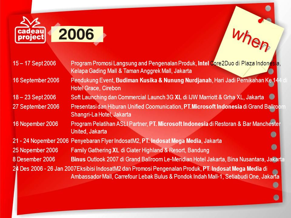 15 – 17 Sept 2006 Program Promosi Langsung and Pengenalan Produk, Intel Core2Duo di Plaza Indonesia, Kelapa Gading Mall & Taman Anggrek Mall, Jakarta 16 September 2006 Pendukung Event, Budiman Kusika & Nunung Nurdjanah, Hari Jadi Pernikahan Ke 144 di Hotel Grace, Cirebon 18 – 23 Sept 2006 Soft Launching dan Commercial Launch 3G XL di IJW Marriott & Grha XL, Jakarta 27 September 2006 Presentasi dan Hiburan Unified Coomunication, PT.Microsoft Indonesia di Grand Ballroom Shangri-La Hotel, Jakarta 16 Nopember 2006 Program Pelatihan ASLI Partner, PT.