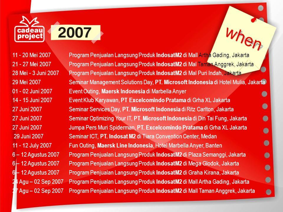 11 - 20 Mei 2007 Program Penjualan Langsung Produk IndosatM2 di Mall Artha Gading, Jakarta 21 - 27 Mei 2007 Program Penjualan Langsung Produk IndosatM2 di Mal Taman Anggrek, Jakarta 28 Mei - 3 Juni 2007 Program Penjualan Langsung Produk IndosatM2 di Mal Puri Indah, Jakarta 29 Mei 2007 Seminar Management Solutions Day, PT.